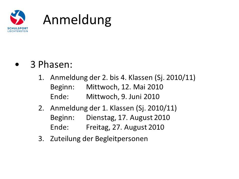 Anmeldung 3 Phasen: 1.Anmeldung der 2. bis 4. Klassen (Sj. 2010/11) Beginn: Mittwoch, 12. Mai 2010 Ende: Mittwoch, 9. Juni 2010 2.Anmeldung der 1. Kla
