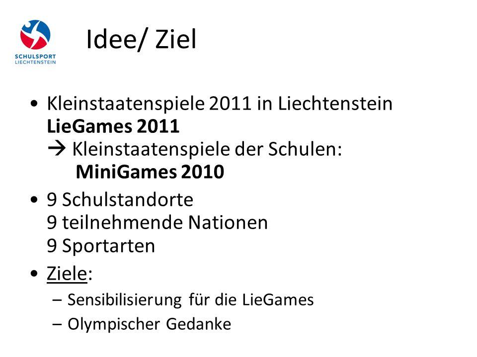 Idee/ Ziel Kleinstaatenspiele 2011 in Liechtenstein LieGames 2011  Kleinstaatenspiele der Schulen: MiniGames 2010 9 Schulstandorte 9 teilnehmende Nationen 9 Sportarten Ziele: –Sensibilisierung für die LieGames –Olympischer Gedanke