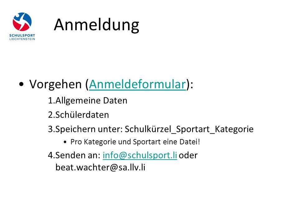 Vorgehen (Anmeldeformular):Anmeldeformular 1.Allgemeine Daten 2.Schülerdaten 3.Speichern unter: Schulkürzel_Sportart_Kategorie Pro Kategorie und Sport