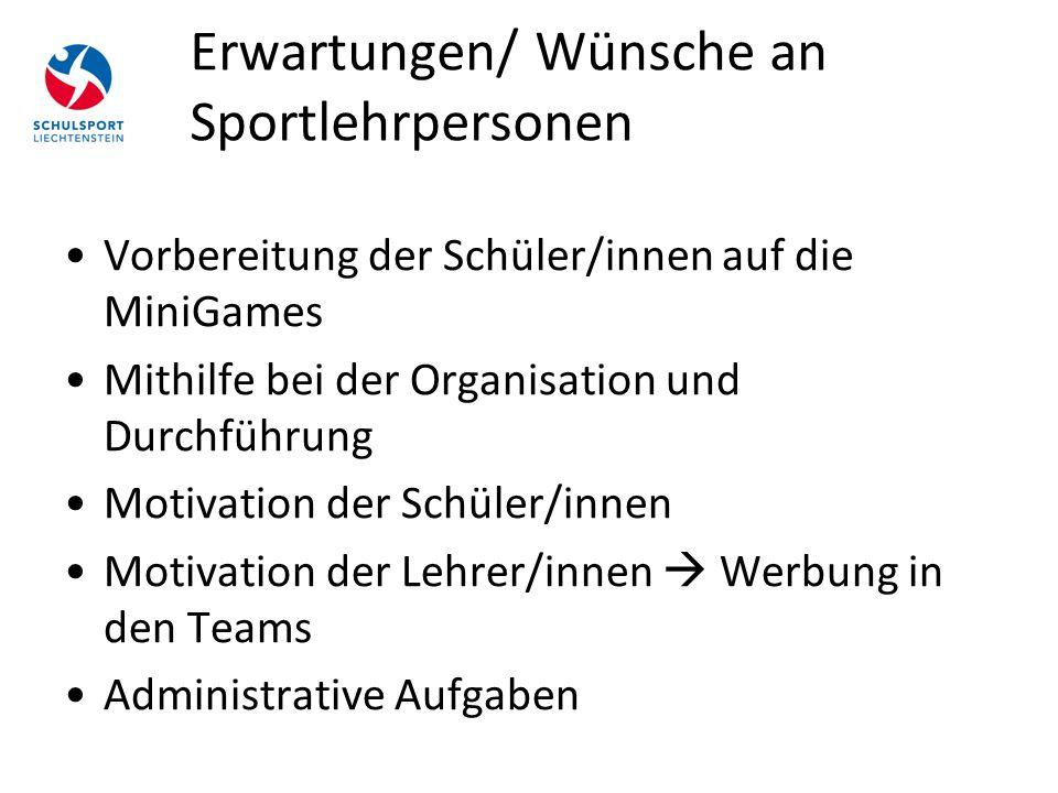 Erwartungen/ Wünsche an Sportlehrpersonen Vorbereitung der Schüler/innen auf die MiniGames Mithilfe bei der Organisation und Durchführung Motivation d