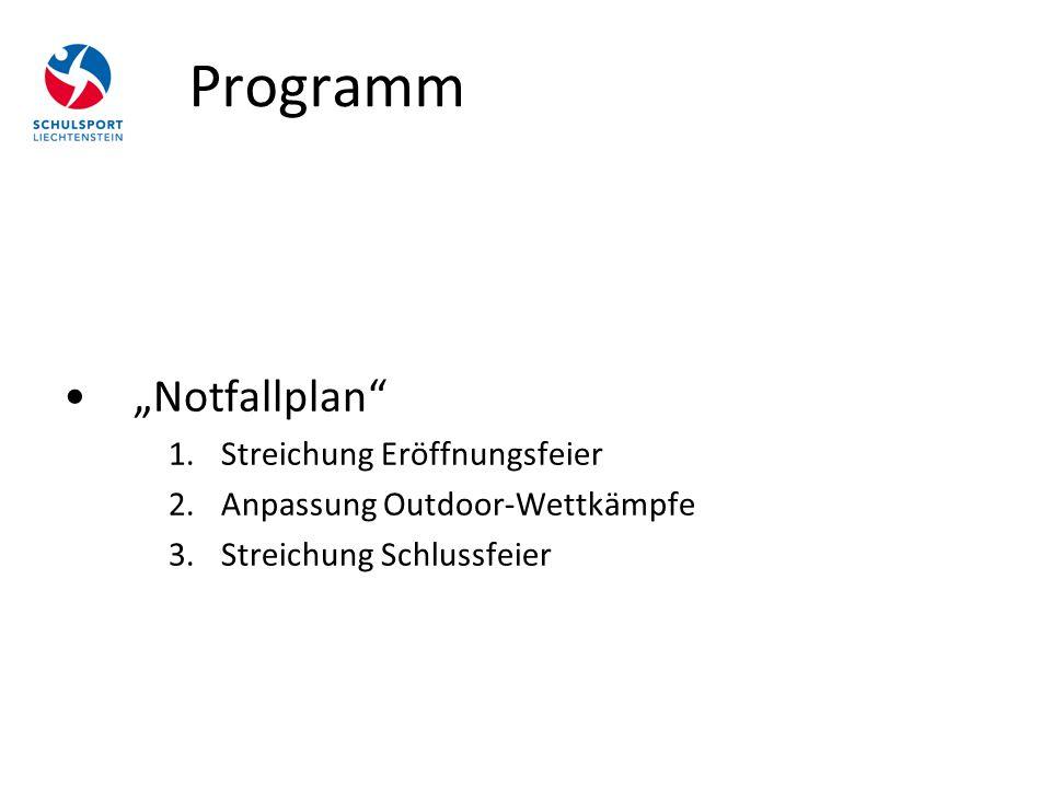 """Programm """"Notfallplan"""" 1.Streichung Eröffnungsfeier 2.Anpassung Outdoor-Wettkämpfe 3.Streichung Schlussfeier"""