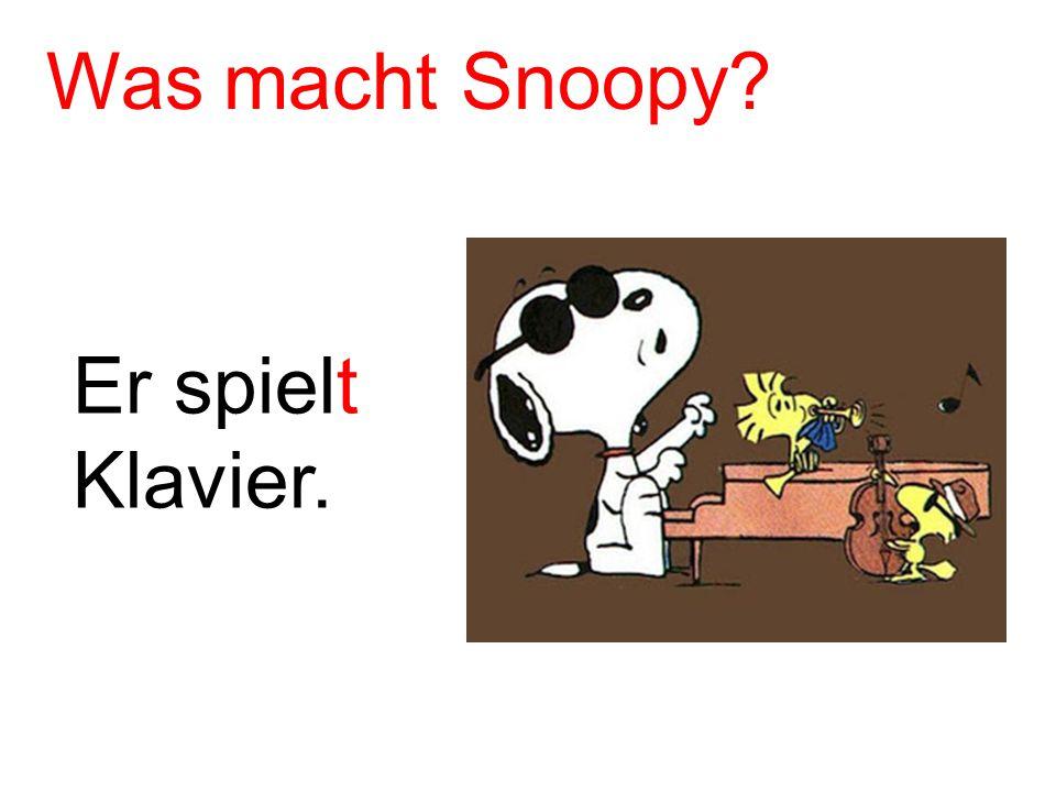 Er spielt Klavier. Was macht Snoopy?