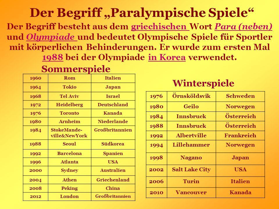 """Der Begriff """"Paralympische Spiele Der Begriff besteht aus dem griechischen Wort Para (neben) und Olympiade und bedeutet Olympische Spiele für Sportler mit körperlichen Behinderungen."""