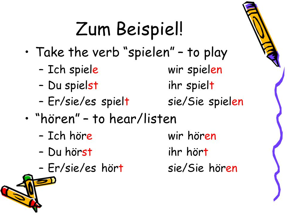 Regular Verbs Follow a similar pattern **Take infinitive, remove the -en , and add the following endings: –i–ich ____ewir ____en –d–du ____stihr ____t –e–er_____tsie_____en –s–sie ____tSie ____en –e–es _____t