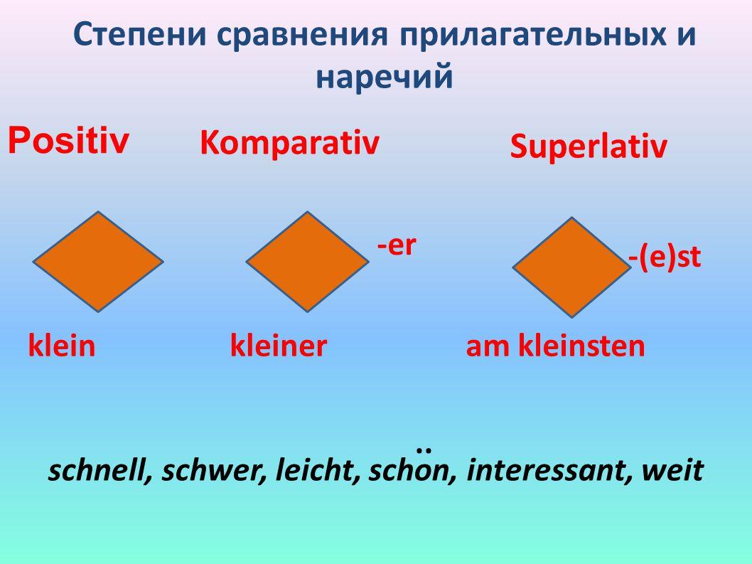 Степени сравнения прилагательных и наречий Positiv Komparativ Superlativ -er -(e)st kleinkleineram kleinsten schnell, schwer, leicht, schon, interessant, weit..