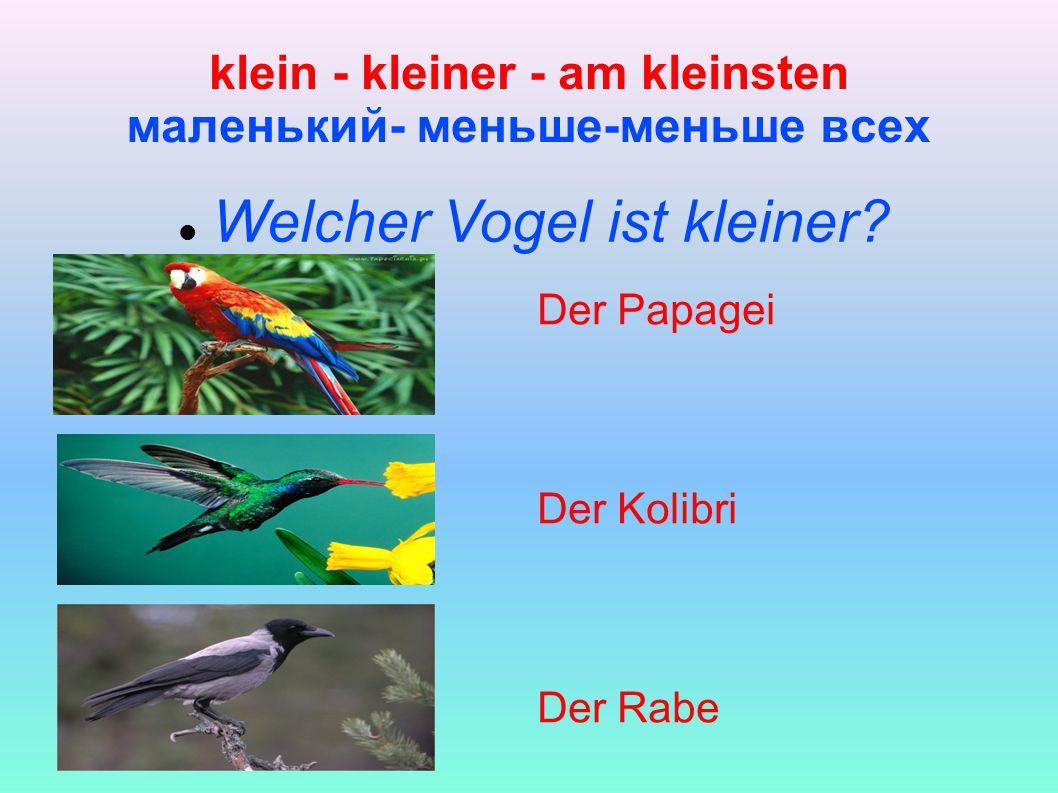klein - kleiner - am kleinsten маленький- меньше-меньше всех Welcher Vogel ist kleiner.