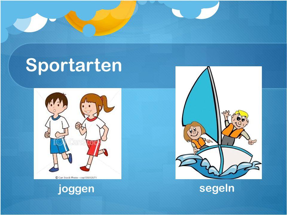 Sportarten segeln joggen