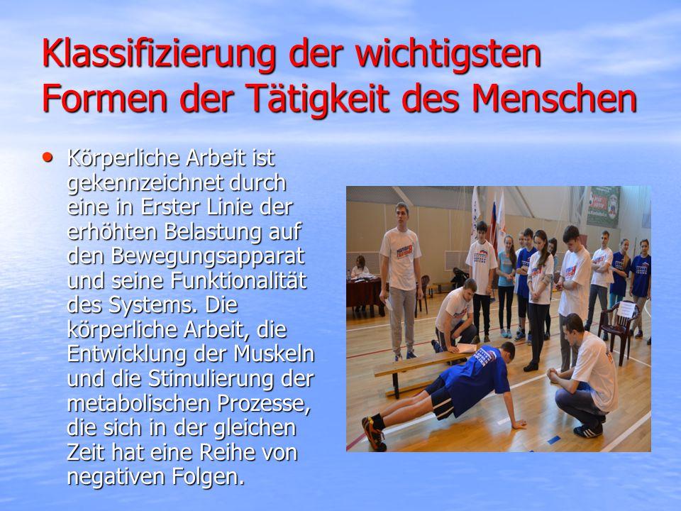 Klassifizierung der wichtigsten Formen der Tätigkeit des Menschen Körperliche Arbeit ist gekennzeichnet durch eine in Erster Linie der erhöhten Belastung auf den Bewegungsapparat und seine Funktionalität des Systems.