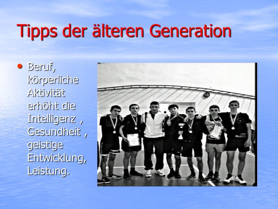Tipps der älteren Generation Beruf, körperliche Aktivität erhöht die Intelligenz, Gesundheit, geistige Entwicklung, Leistung.