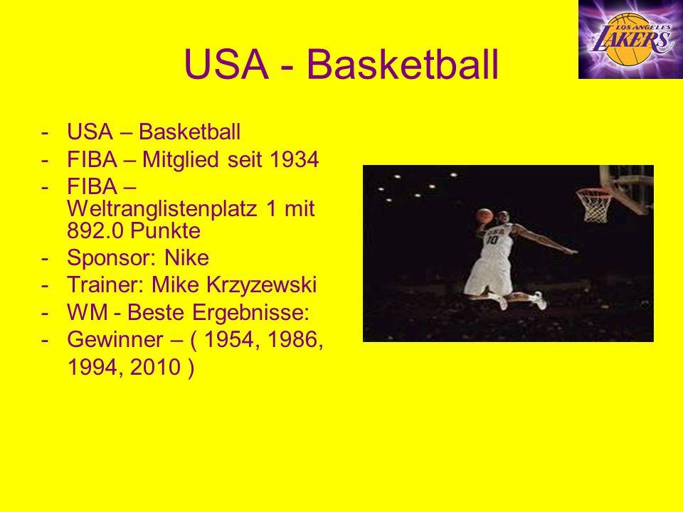 USA - Basketball -USA – Basketball -FIBA – Mitglied seit 1934 -FIBA – Weltranglistenplatz 1 mit 892.0 Punkte -Sponsor: Nike -Trainer: Mike Krzyzewski