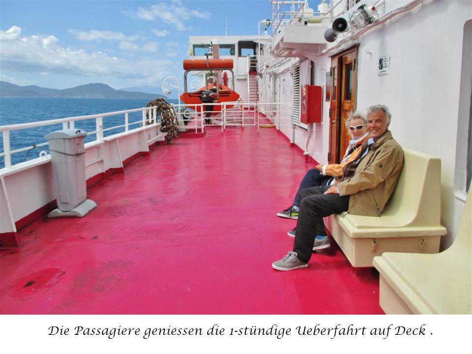 Die Passagiere geniessen die 1-stündige Ueberfahrt auf Deck.