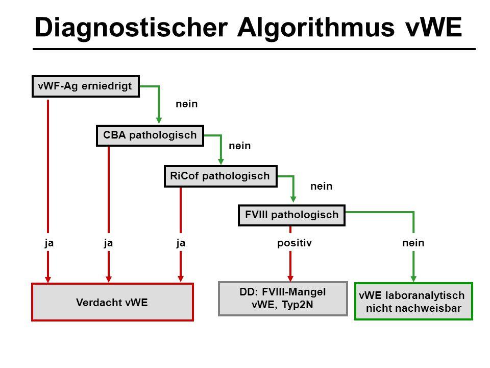 nein DD: FVIII-Mangel vWE, Typ2N positiv Verdacht vWE CBA pathologisch vWE laboranalytisch nicht nachweisbar RiCof pathologisch vWF-Ag erniedrigt ja F