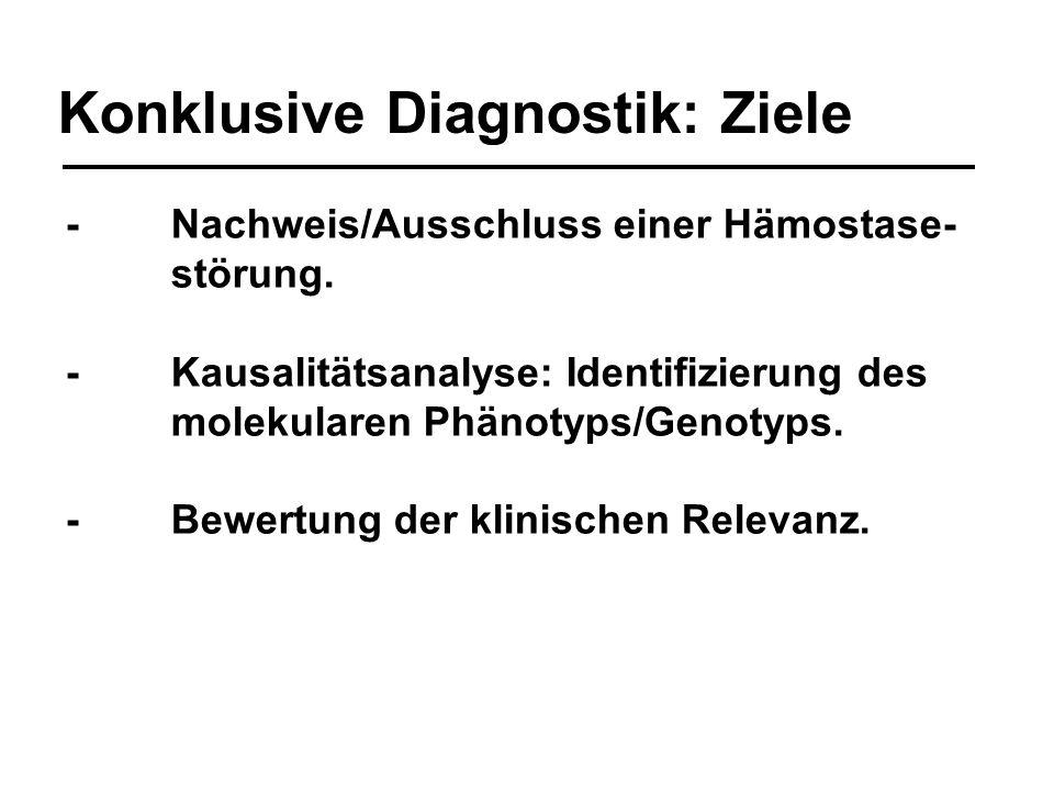 Konklusive Diagnostik: Ziele -Nachweis/Ausschluss einer Hämostase- störung. -Kausalitätsanalyse: Identifizierung des molekularen Phänotyps/Genotyps. -