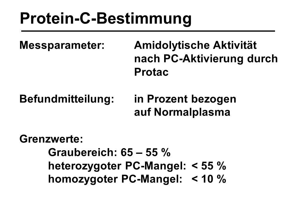 Protein-C-Bestimmung Messparameter:Amidolytische Aktivität nach PC-Aktivierung durch Protac Befundmitteilung: in Prozent bezogen auf Normalplasma Gren