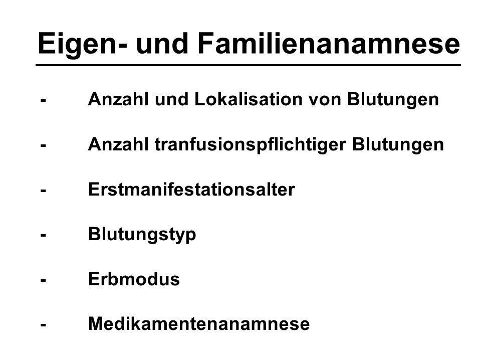 Anamnese: Beurteilung Pro HD: -Hämatome > 5 cm -Hämatome am Stammbereich -Suggilationen -petechiale Blutungen -Epistaxis nasi, rezidivierend, wechselseitig -nicht operationsadäquate Blutungen -Blutungen > 5 min bei kleineren Verletzungen -intraartikuläre/intramuskuläre Blutungen -gynäkologisch nicht erklärbare Hb-wirksame Menstruationsblutungen