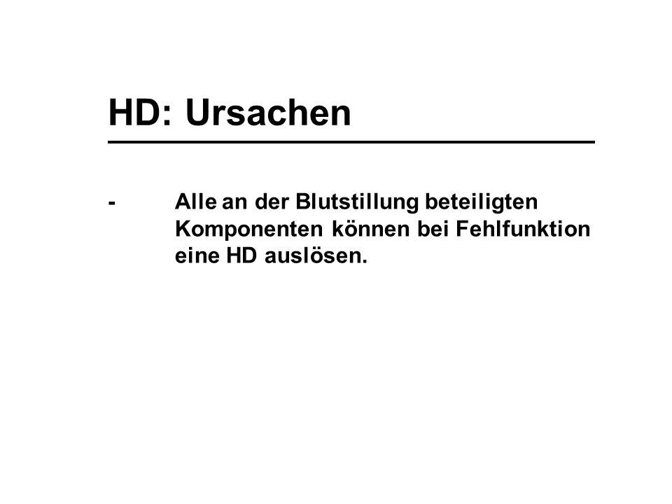 HD: Ursachen -Alle an der Blutstillung beteiligten Komponenten können bei Fehlfunktion eine HD auslösen.