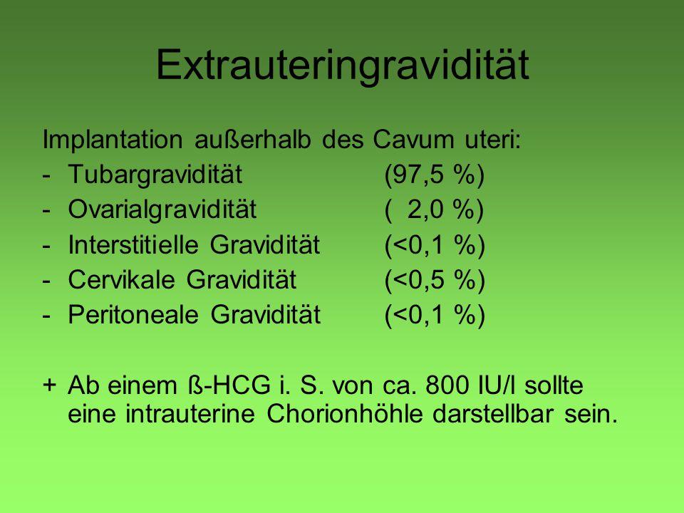 Implantation außerhalb des Cavum uteri: -Tubargravidität (97,5 %) -Ovarialgravidität( 2,0 %) -Interstitielle Gravidität(<0,1 %) -Cervikale Gravidität(<0,5 %) -Peritoneale Gravidität(<0,1 %) +Ab einem ß-HCG i.