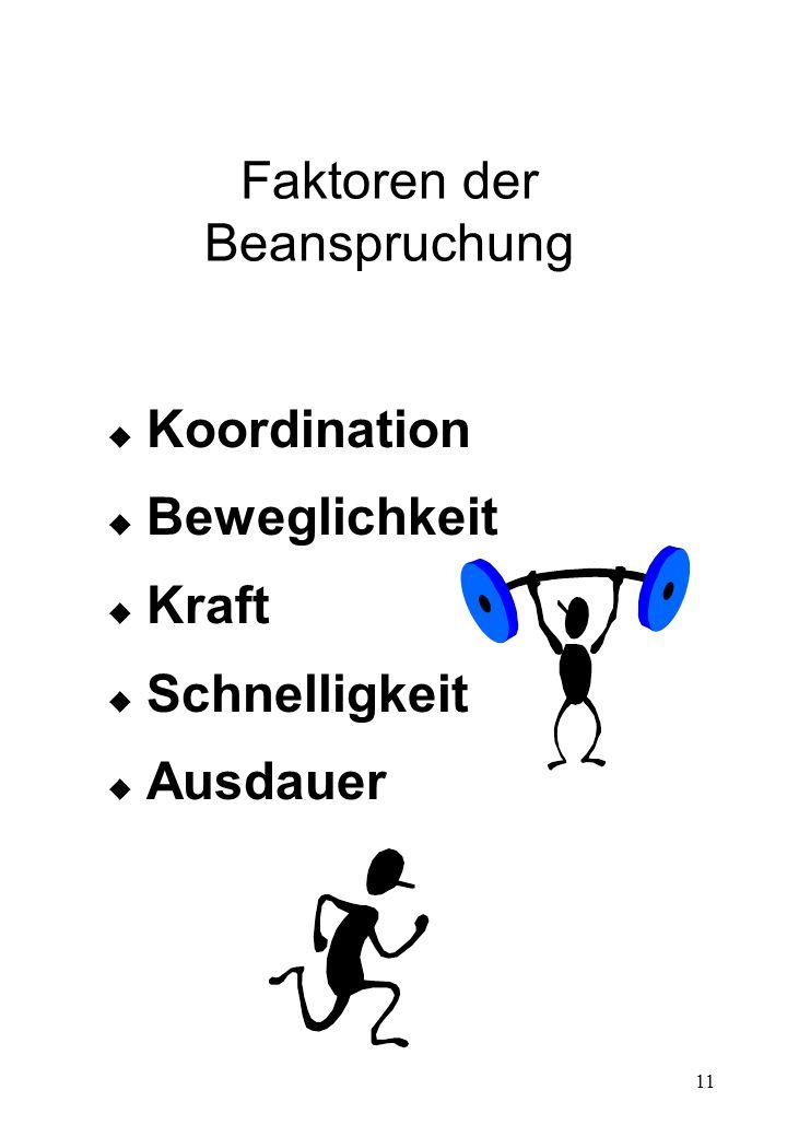 11 Faktoren der Beanspruchung  Koordination  Beweglichkeit  Kraft  Schnelligkeit  Ausdauer