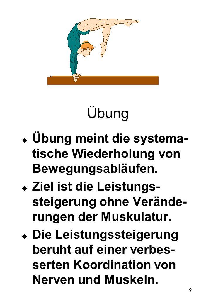 9 Übung u Übung meint die systema- tische Wiederholung von Bewegungsabläufen. u Ziel ist die Leistungs- steigerung ohne Verände- rungen der Muskulatur