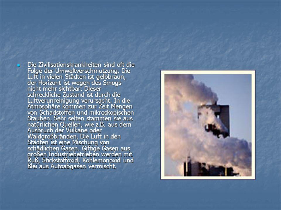 Die Zivilisationskrankheiten sind oft die Folge der Umweltverschmutzung. Die Luft in vielen Städten ist gelbbraun, der Horizont ist wegen des Smogs ni