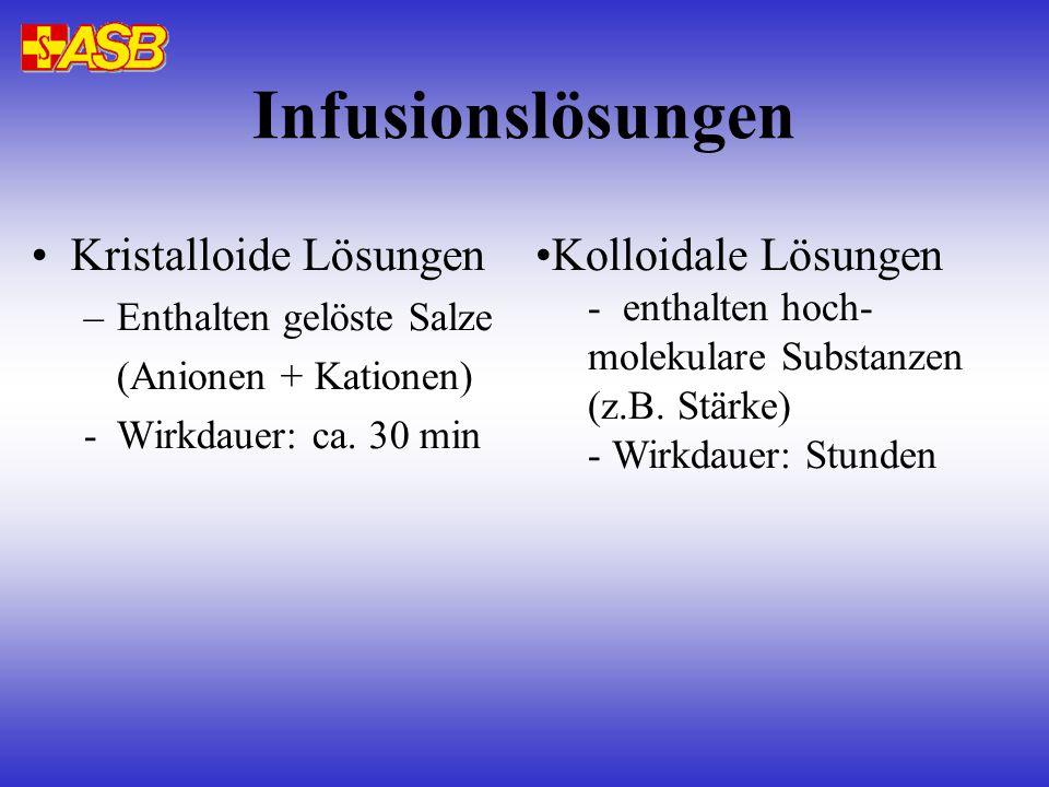 Infusionslösungen Kristalloide Lösungen –Enthalten gelöste Salze (Anionen + Kationen) -Wirkdauer: ca. 30 min Kolloidale Lösungen - enthalten hoch- mol