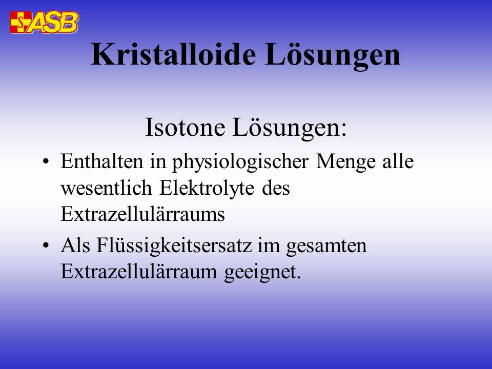 Kristalloide Lösungen Isotone Lösungen: Enthalten in physiologischer Menge alle wesentlich Elektrolyte des Extrazellulärraums Als Flüssigkeitsersatz i