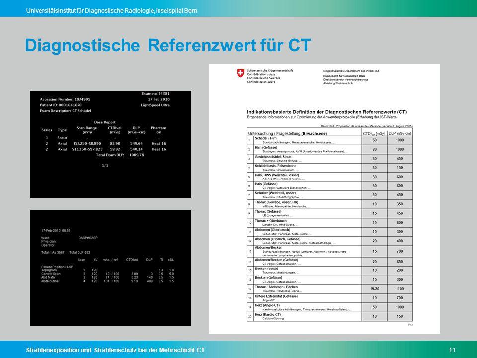 Strahlenexposition und Strahlenschutz bei der Mehrschicht-CT11 Universitätsinstitut für Diagnostische Radiologie, Inselspital Bern Diagnostische Refer