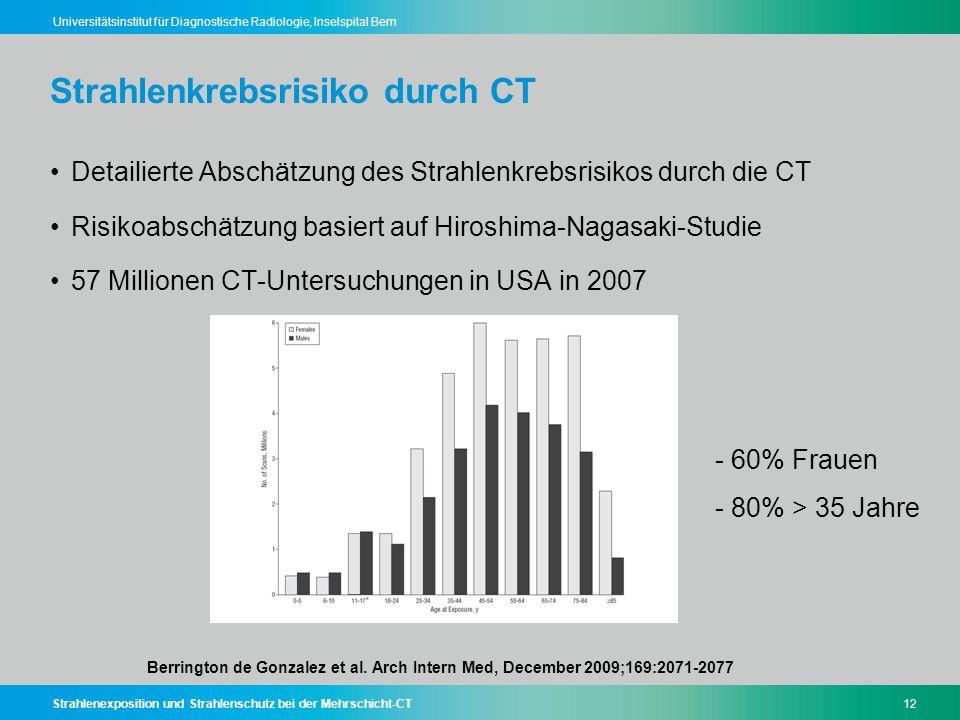 Strahlenexposition und Strahlenschutz bei der Mehrschicht-CT12 Universitätsinstitut für Diagnostische Radiologie, Inselspital Bern Strahlenkrebsrisiko
