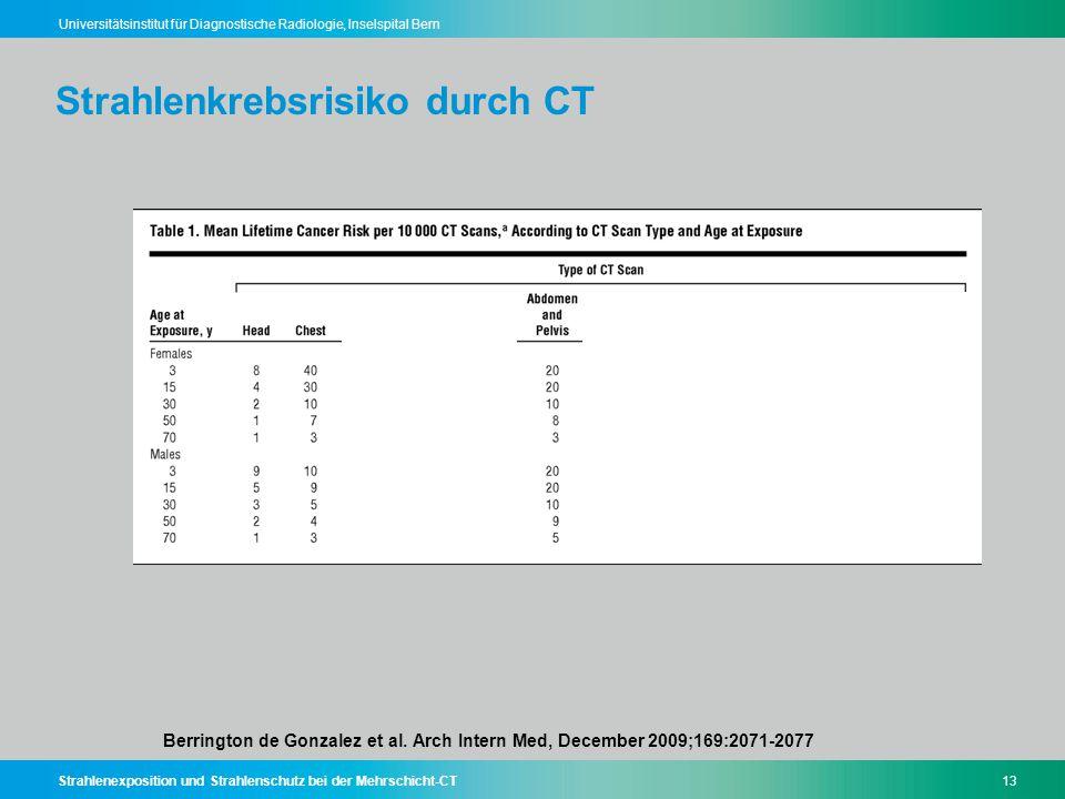 Strahlenexposition und Strahlenschutz bei der Mehrschicht-CT13 Universitätsinstitut für Diagnostische Radiologie, Inselspital Bern Strahlenkrebsrisiko