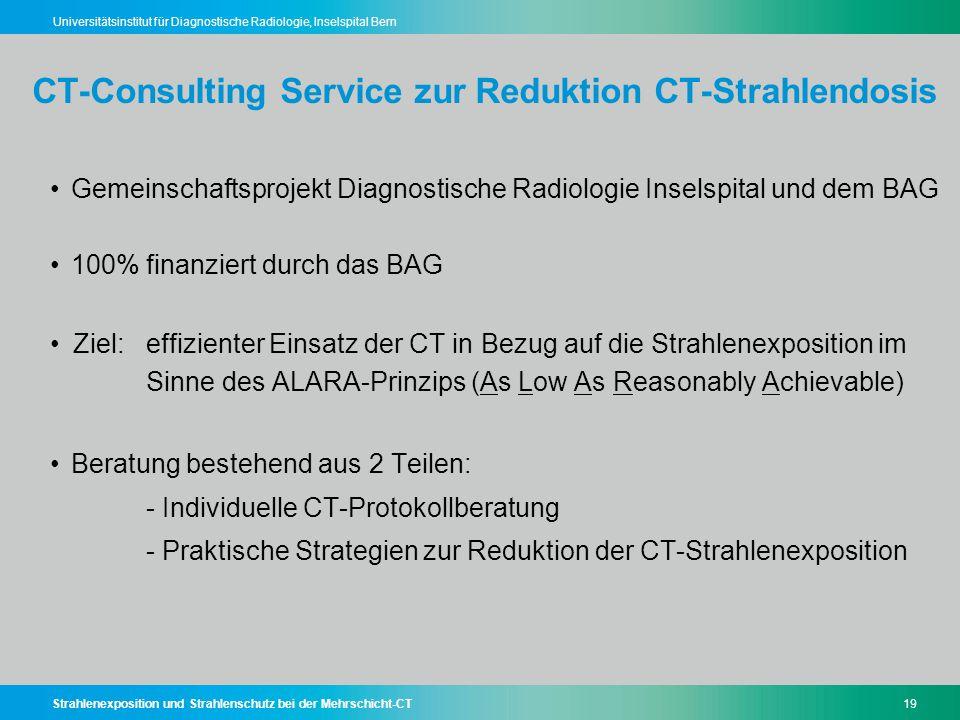 Strahlenexposition und Strahlenschutz bei der Mehrschicht-CT19 Universitätsinstitut für Diagnostische Radiologie, Inselspital Bern CT-Consulting Servi