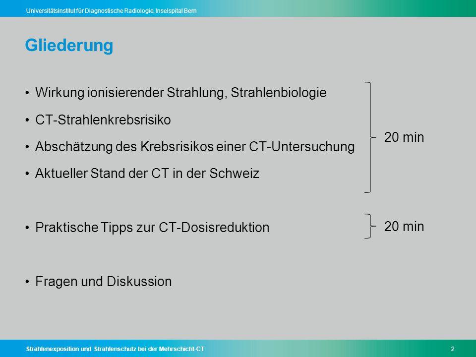 Strahlenexposition und Strahlenschutz bei der Mehrschicht-CT2 Universitätsinstitut für Diagnostische Radiologie, Inselspital Bern Gliederung Wirkung i