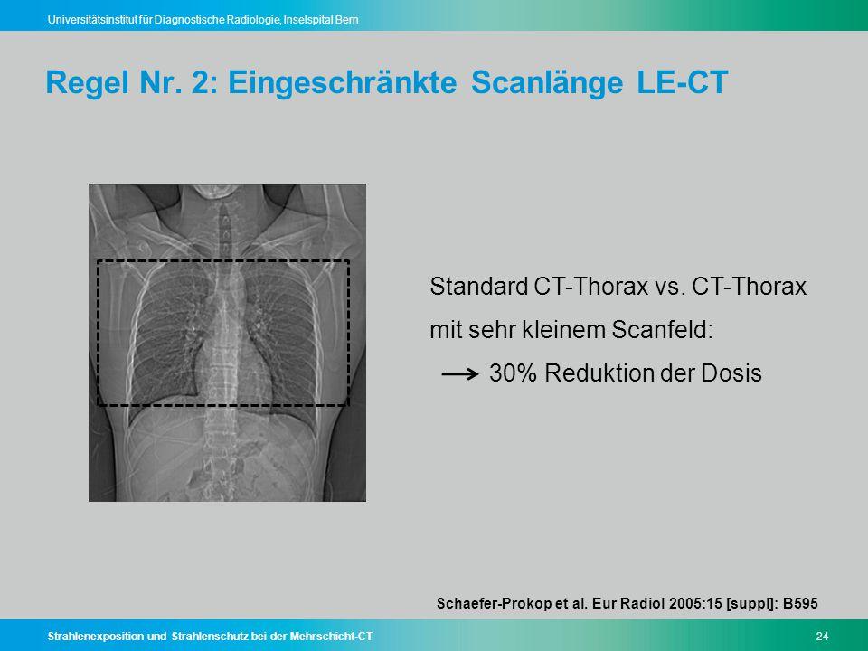 Strahlenexposition und Strahlenschutz bei der Mehrschicht-CT24 Universitätsinstitut für Diagnostische Radiologie, Inselspital Bern Regel Nr. 2: Einges
