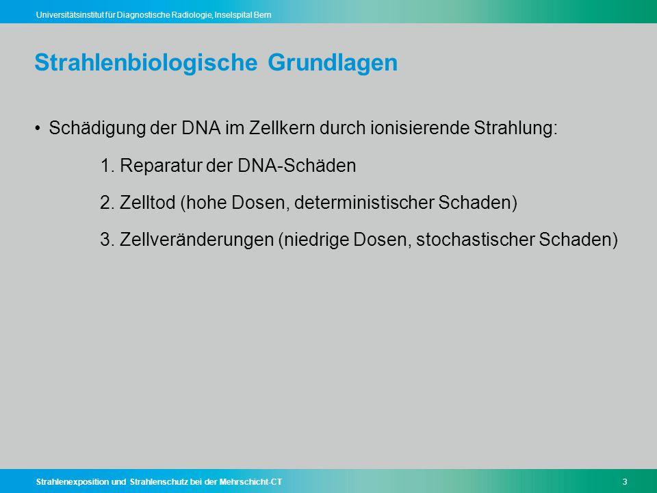 Strahlenexposition und Strahlenschutz bei der Mehrschicht-CT3 Universitätsinstitut für Diagnostische Radiologie, Inselspital Bern Strahlenbiologische