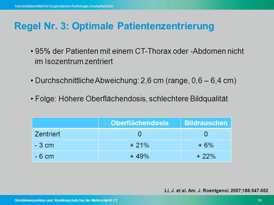 Strahlenexposition und Strahlenschutz bei der Mehrschicht-CT30 Universitätsinstitut für Diagnostische Radiologie, Inselspital Bern Regel Nr. 3: Optima