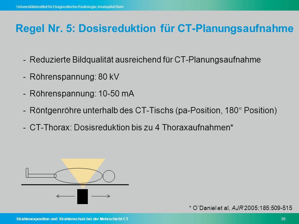 Strahlenexposition und Strahlenschutz bei der Mehrschicht-CT35 Universitätsinstitut für Diagnostische Radiologie, Inselspital Bern Regel Nr. 5: Dosisr
