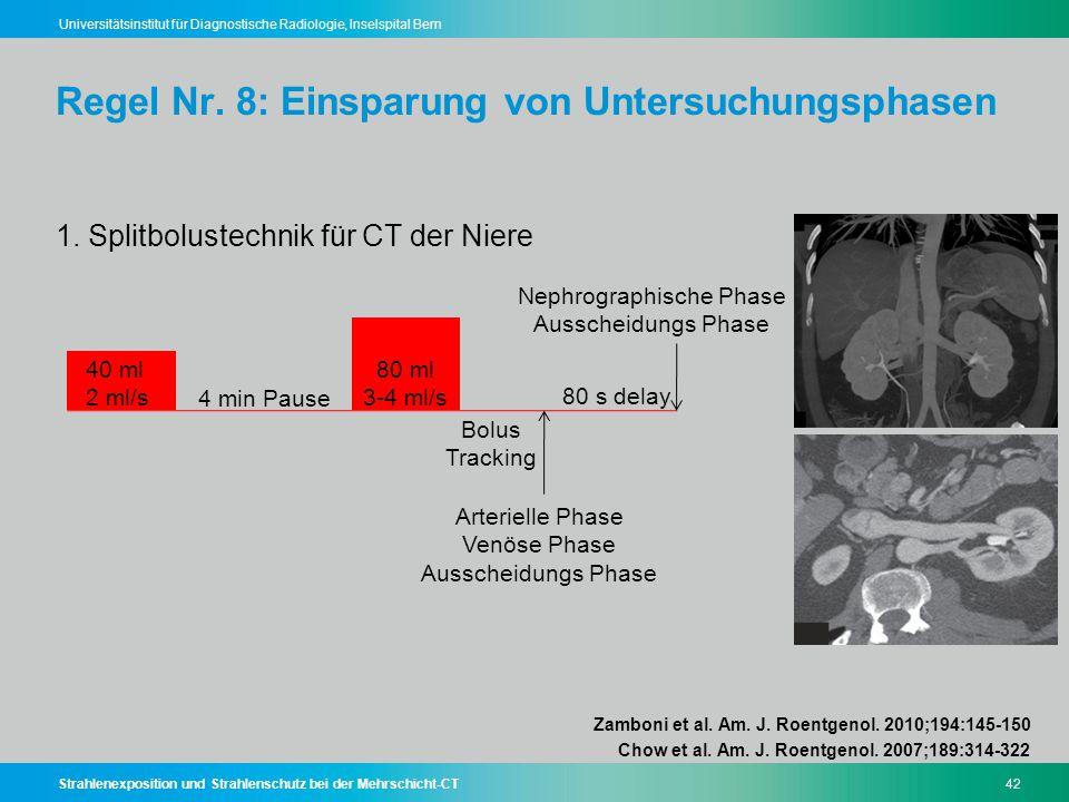 Strahlenexposition und Strahlenschutz bei der Mehrschicht-CT42 Universitätsinstitut für Diagnostische Radiologie, Inselspital Bern Regel Nr. 8: Einspa
