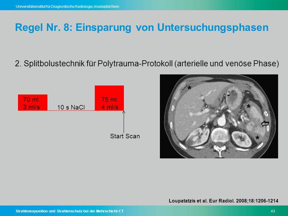 Strahlenexposition und Strahlenschutz bei der Mehrschicht-CT43 Universitätsinstitut für Diagnostische Radiologie, Inselspital Bern Regel Nr. 8: Einspa