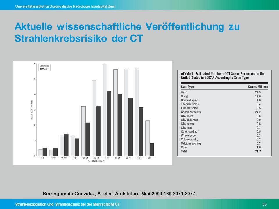 Strahlenexposition und Strahlenschutz bei der Mehrschicht-CT55 Universitätsinstitut für Diagnostische Radiologie, Inselspital Bern Aktuelle wissenscha