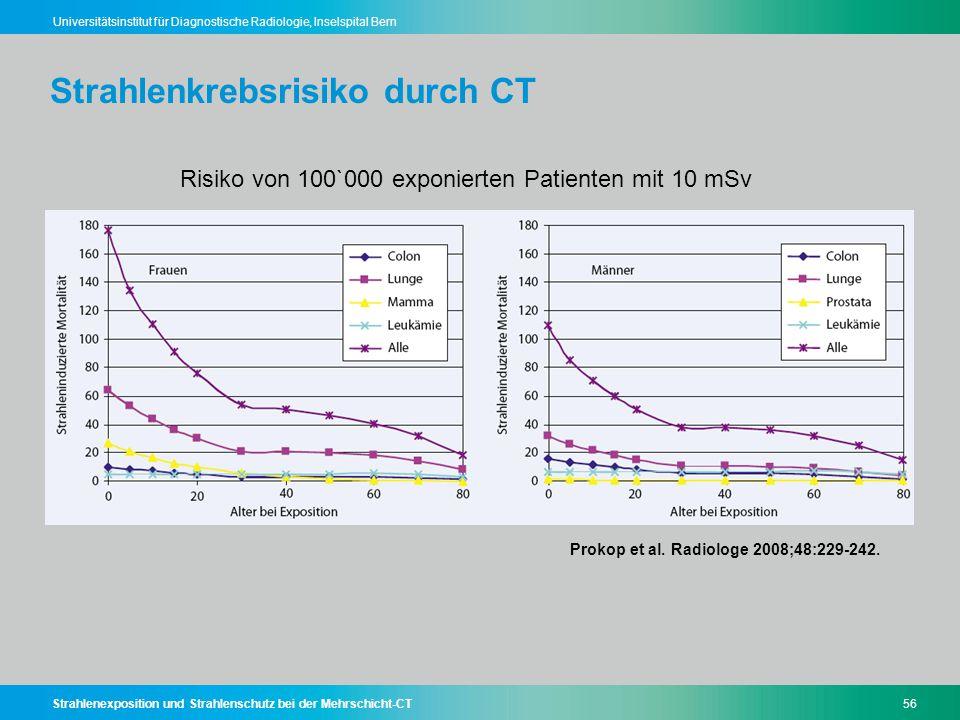 Strahlenexposition und Strahlenschutz bei der Mehrschicht-CT56 Universitätsinstitut für Diagnostische Radiologie, Inselspital Bern Strahlenkrebsrisiko
