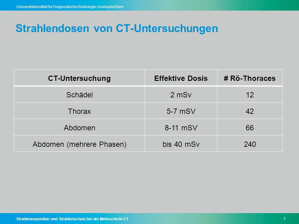 Strahlenexposition und Strahlenschutz bei der Mehrschicht-CT7 Universitätsinstitut für Diagnostische Radiologie, Inselspital Bern Strahlendosen von CT