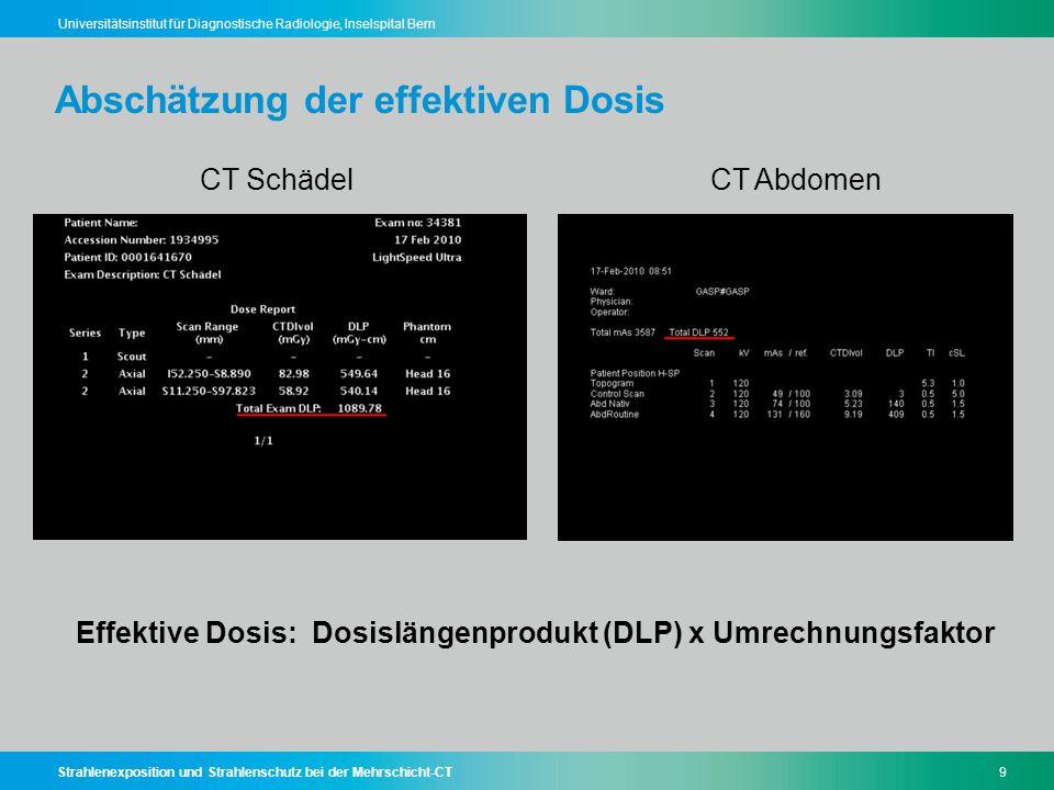 Strahlenexposition und Strahlenschutz bei der Mehrschicht-CT50 Universitätsinstitut für Diagnostische Radiologie, Inselspital Bern Zusammenfassung - Schlussfolgerung Der Nutzen einer klinisch indizierten CT-Untersuchung überwiegt wesentlich das potentielle Risiko Stetig steigende CT-Untersuchungszahlen führen zukünftig zu mehr strahleninduzierten Krebsfällen in der Schweiz CT-Strahlenschutz betrifft Radiologen und MTRA gleichermassen Einfache Strategien zur CT-Dosisreduktion beachten - Scanlänge reduzieren - Optimale Patientenzentrierung - Untersuchungsphasen reduzieren - Schutzmittel regelmässig anwenden
