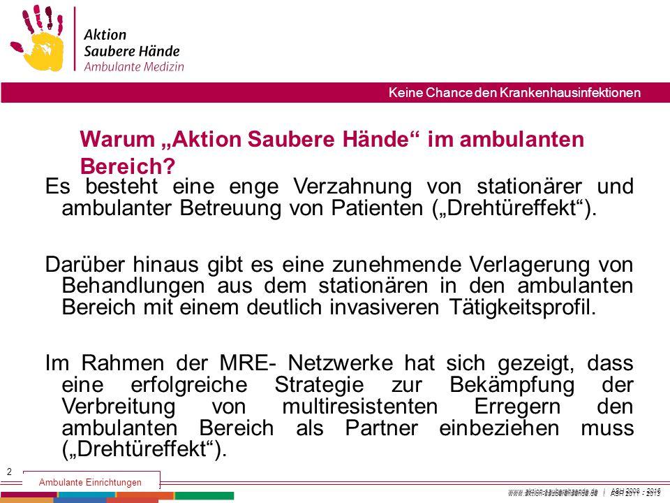 www.aktion-sauberehaende.de | ASH 2008 - 2016 Aktion Saubere Hände Keine Chance den Krankenhausinfektionen www.aktion-sauberehaende.de | ASH 2011 - 20