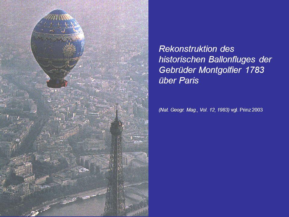 Rekonstruktion des historischen Ballonfluges der Gebrüder Montgolfier 1783 über Paris (Nat. Geogr. Mag., Vol. 12, 1983) vgl. Prinz 2003