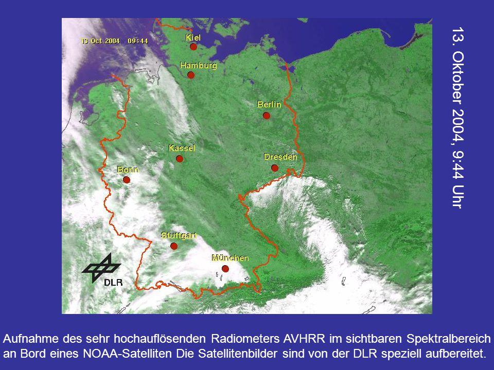 Aufnahme des sehr hochauflösenden Radiometers AVHRR im sichtbaren Spektralbereich an Bord eines NOAA-Satelliten Die Satellitenbilder sind von der DLR