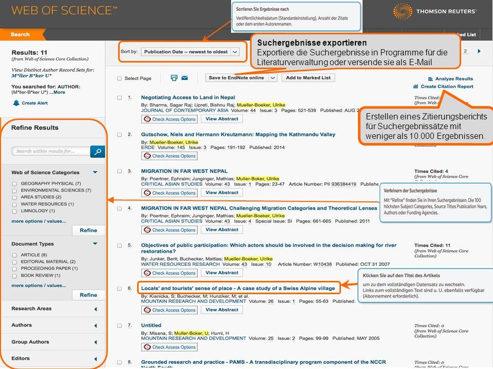 Erstellen eines Zitierungsberichts für Suchergebnissätze mit weniger als 10.000 Ergebnissen.