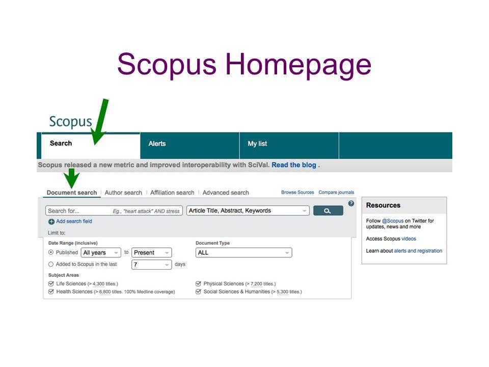Scopus Homepage