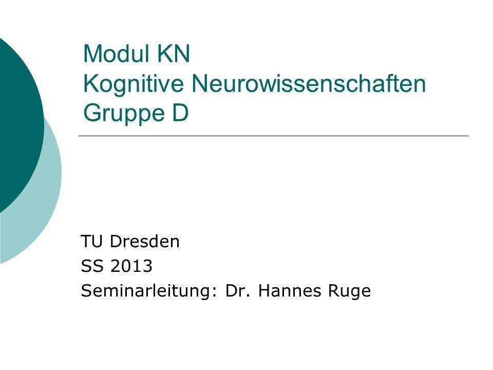Modul KN Kognitive Neurowissenschaften Gruppe D TU Dresden SS 2013 Seminarleitung: Dr. Hannes Ruge