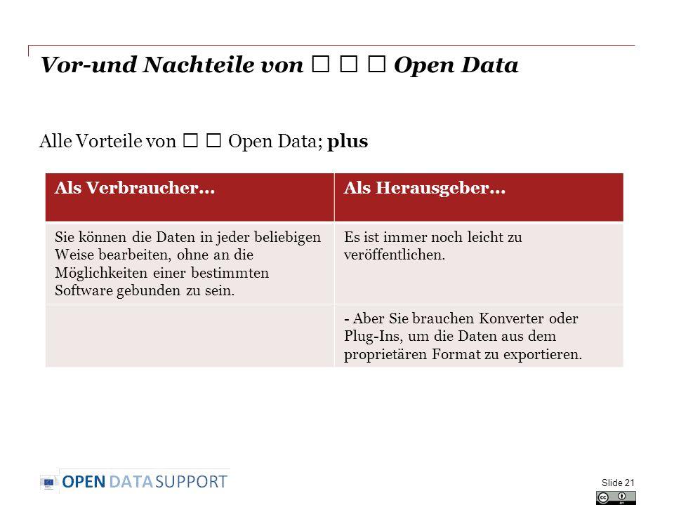 Vor-und Nachteile von ★ ★ ★ Open Data Alle Vorteile von ★ ★ Open Data; plus Slide 21 Als Verbraucher...Als Herausgeber...