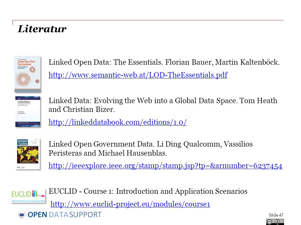 Literatur Linked Open Data: The Essentials. Florian Bauer, Martin Kaltenböck. http://www.semantic-web.at/LOD-TheEssentials.pdf Linked Data: Evolving t