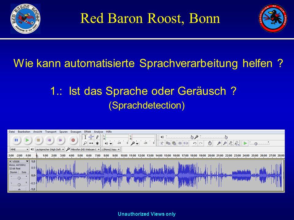 Unauthorized Views only Red Baron Roost, Bonn 1.: Ist das Sprache oder Geräusch .